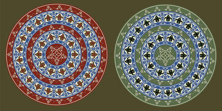 Decorative round floral frameworks. Ancient Persian style. Seamless pattern brushes included.