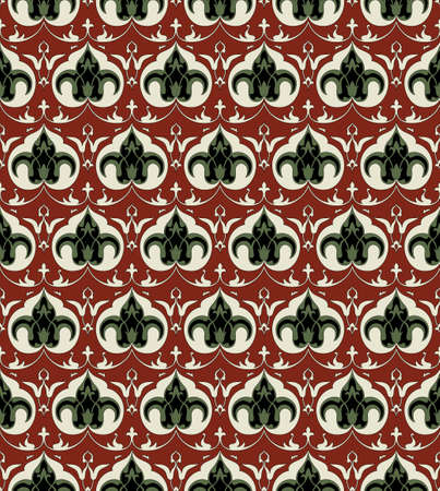 Seamless pattern, traditional Persian elements. Brown background is separated. Swatch is included.