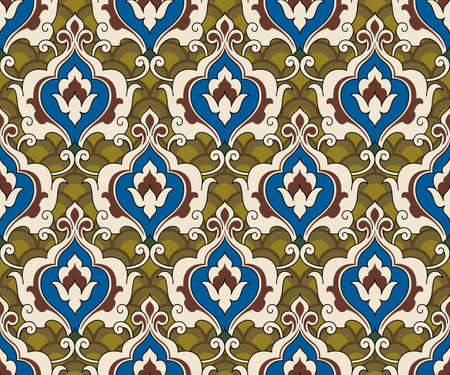 Two seamless overlapping patterns, traditional Persian decor. Swatch is included. Illustration