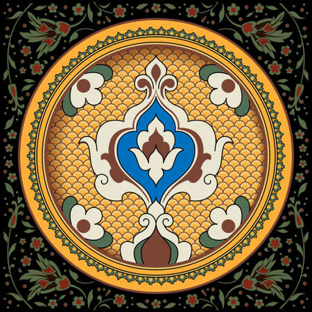Decorative round floral pattern with ancient Persian decor. Plate, arabesques. Decorative floral corners on background.