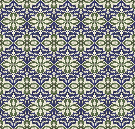 Seamless pattern, traditional Persian elements. Blue background is separated. Swatch is included. Illustration