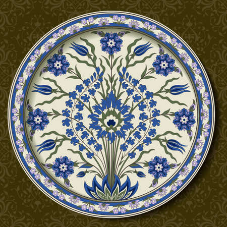 Decorative round floral pattern with bouquet of whimsical flowers. Ancient Persian style. Plate, arabesques. Seamless classic pattern as a background. Illustration