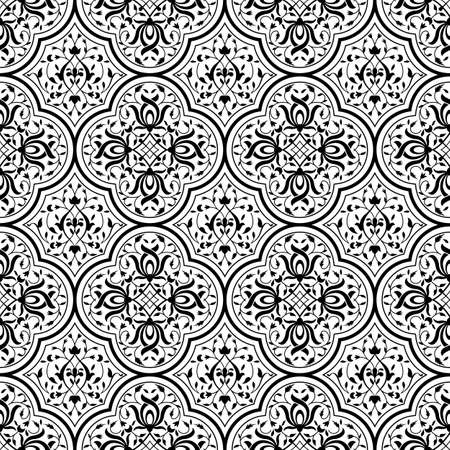 Seamless black pattern with intertwining floral swirls. Indo-Persian art. Swatch is included.