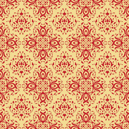 Seamless red pattern, traditional Persian, East decor. Golden back. Swatch is included. Illustration