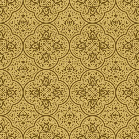 Seamless pattern with intertwining floral swirls. Indo-Persian art. Golden, wooden background. Swatch is included. Illustration
