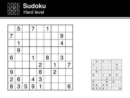 Sudoku. Hard level. Black and white, with solution. Sudoku icon.