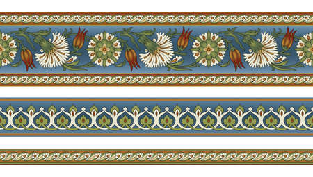 Seamless floral borders. Ancient Persian style. Clipping masks applied. Illustration