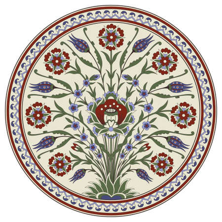Decorative round floral pattern with bouquet of whimsical flowers. Ancient Persian style. Plate, arabesques.