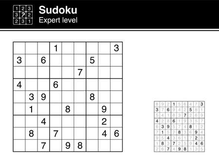 Sudoku. Expert level. Black and white, with solution. Sudoku icon.