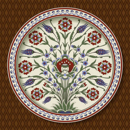 Decorative round floral pattern with bouquet of whimsical flowers. Ancient Persian style. Plate, arabesques. Seamless rhombus pattern as a background.