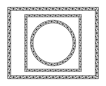 Set of black frames - round, square and rectangular. Classic style. Pattern brush is included.