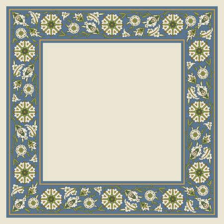 Decorative floral square framework. Arabic, Persian style.