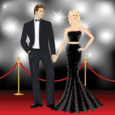 red man: pareja de lujo famosos, moda mujer y hombre elegante en frente de los paparazzi en la alfombra roja