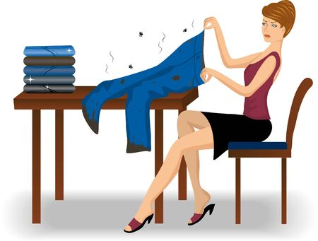 smelly: Disgusted woman with smelly worn jeans sitting and doing her laundry at home Illustration