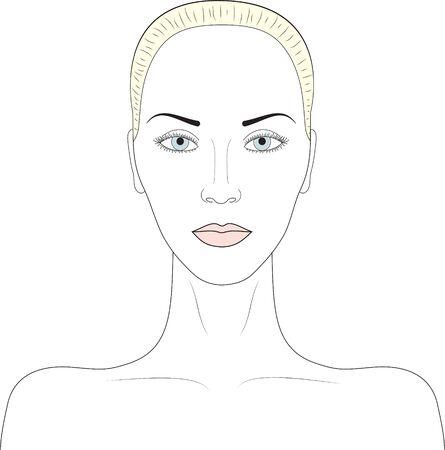 Beautiful ideal woman face  Simple sketch portrait Stock Vector - 15306987