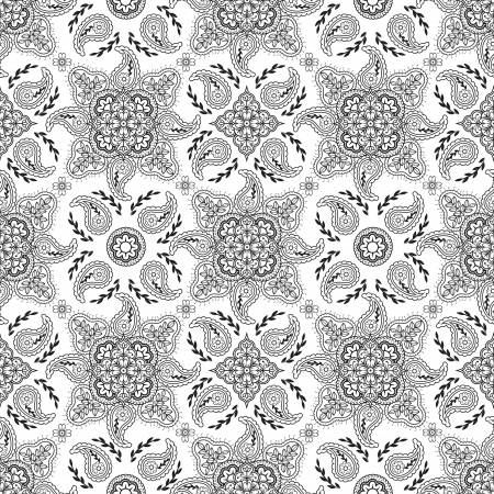 Seamless black paisley pattern on white background  Vector