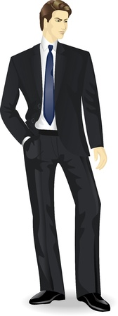 full length portrait: businessman standing with the hand in pocket