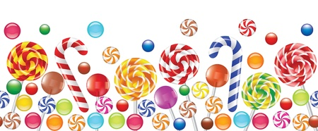 colourful candy: colorful candies, fruit bonbon, lollipop seamless horizontal background  Illustration