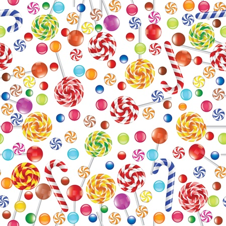 seamless background with candies, jellies and lollipops