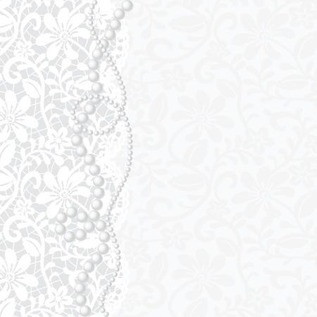Vector sjabloon voor bruiloft, uitnodiging of wenskaart met kant achtergrond en parelsnoer Vector Illustratie
