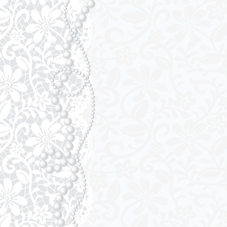 lace vector: Vector template for wedding, invitation or greeting card with lace background and pearl necklace  Illustration