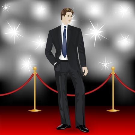 beroemde elegante man in pak poseren voor de paparazzi op de rode loper Vector Illustratie