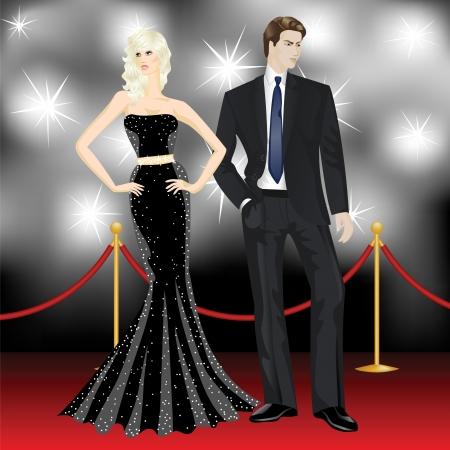 celebrities: beroemde luxe paar, mode vrouw en elegante man in de voorkant van de paparazzi op de rode loper Stock Illustratie