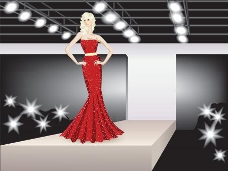 modelo en pasarela: moda modelo que representa recogida en el podio