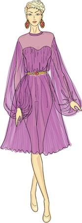 sheer: Fashion sketch of woman in chiffon dress