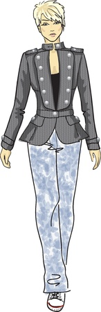 casual dress: fashion sketch of woman in military jacket, jeans and gumshoes  Illustration