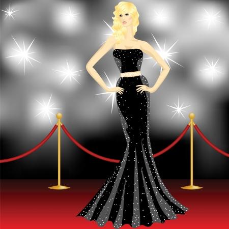 divas: famoso hermosa mujer elegante posando delante de los paparazzi en la alfombra roja Vectores