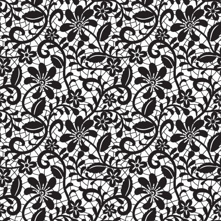 retro lace: black seamless lace pattern on white background