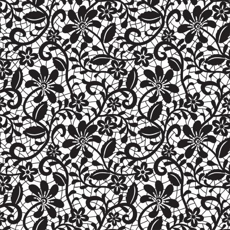 patrón de encaje negro sin fisuras en el fondo blanco Ilustración de vector
