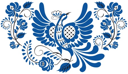 russian culture: Russian national floral pattern - gzhel  Bird on the branch with leaves, swirls and flowers