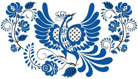 Russische nationale bloemmotief - Gzhel Vogel op de tak met bladeren, wervelingen en bloemen