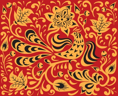 Floral pattern with fire bird  Russian national ornament - Khokhloma  Vector