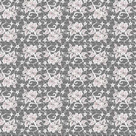 white lace with seamless floral pattern on black background  Vector