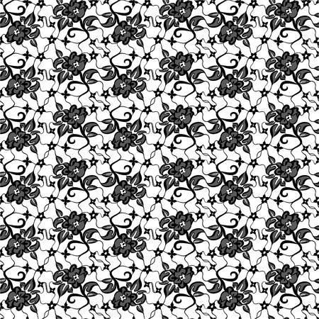 tissue paper: black lace with seamless floral pattern on white background  Illustration