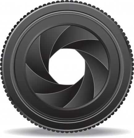 macro photography: vector illustration of camera lens shutter