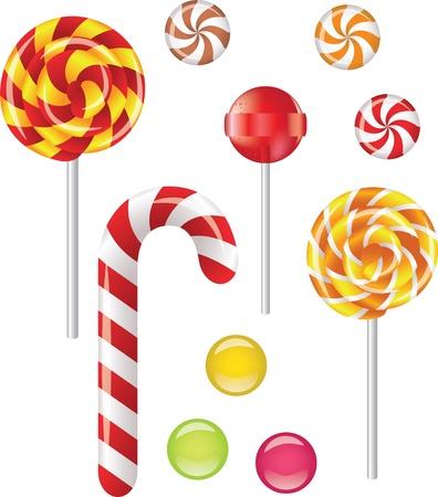 canne a sucre: Vector set de bonbons diff�rents