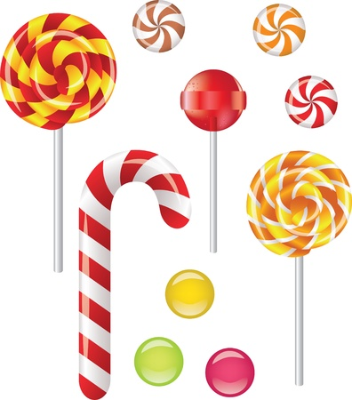 candy cane: Vector set with different candies