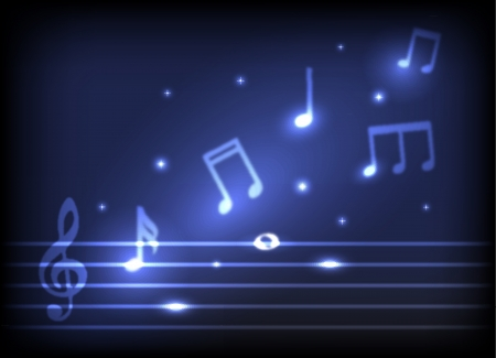 the symphony: magic melody  burning musical symbols and stars on a dark background