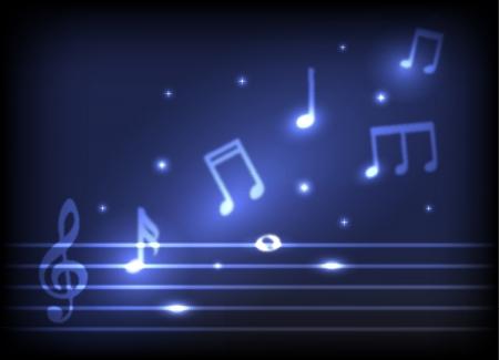 chiave di violino: melodia magica bruciare simboli musicali e le stelle su uno sfondo scuro