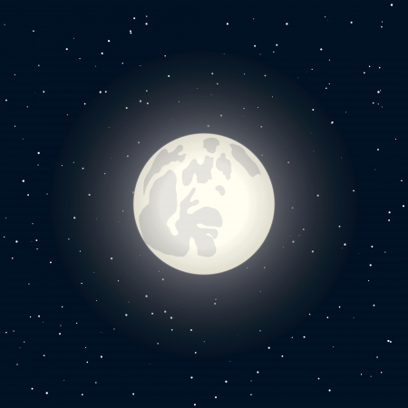 night with full moon on a dark sky with stars  Vector