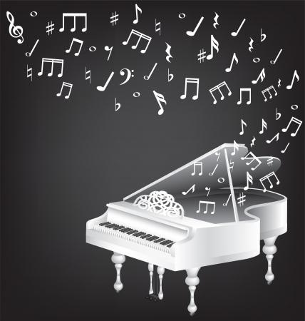 piano de cola: música de la vendimia con la tarjeta blanca y notas de piano de cola Vectores