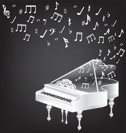 black piano: music vintage card with white grand piano and notes