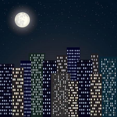 sky scape: night city skyline with moon and stars  Illustration