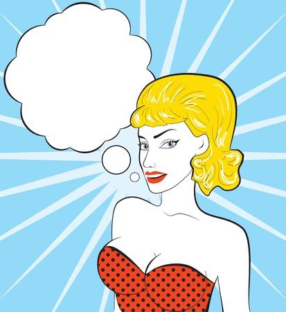 details: Pop art vector illustration of a woman