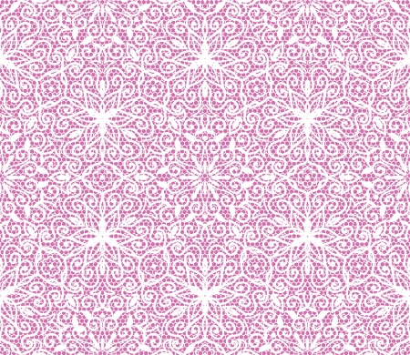 Seamless white floral lace pattern on pink background Vector