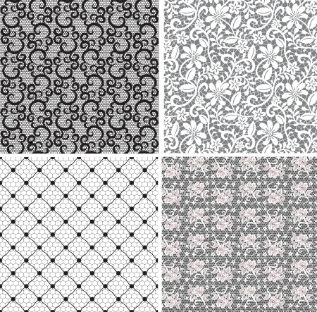 floral net lace set, seamless pattern  Vector
